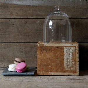 glass cloche on a wood box