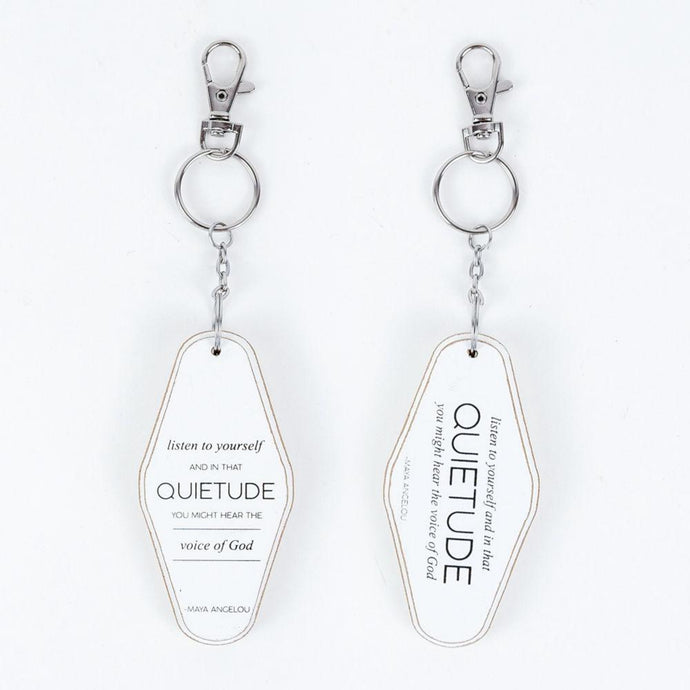 quietude wood keychain