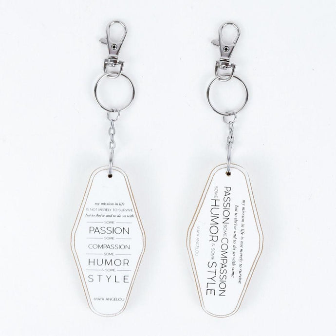 mission life white wood keychain