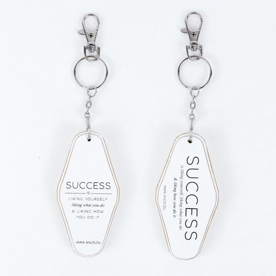 success quote white keychain
