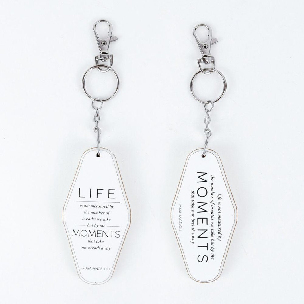 life moments white wood keychain
