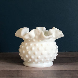 Fenton Hobnail Milk Glass Double Crimped Vase