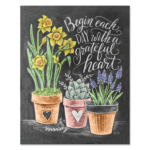 quote art print with planters begin each day with a grateful heart