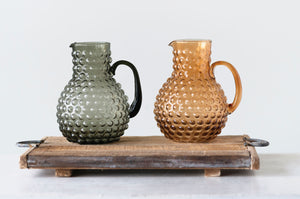 Amber Hobnail Large Glass Pitcher