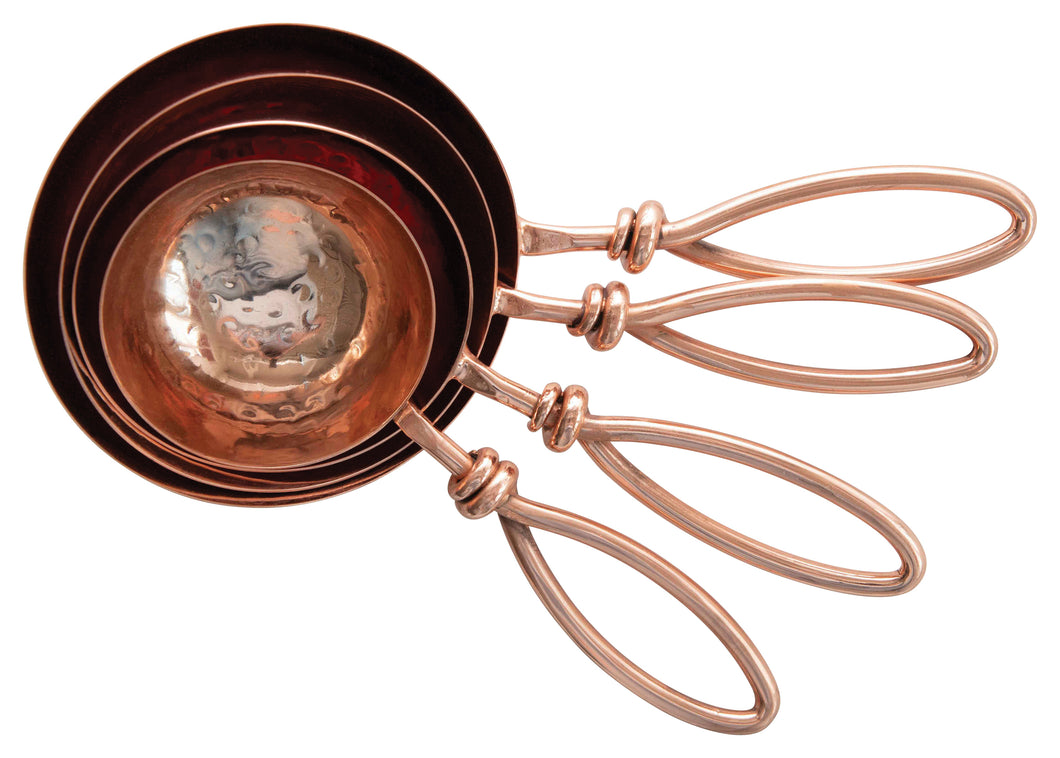 Hammered Stainless Steel Copper Finish Scoops Set