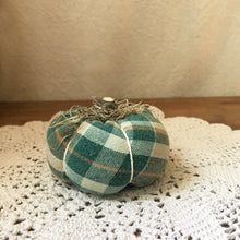 Green cream orange plaid fabric pumpkin
