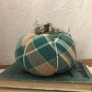 green orange cream fabric pumpkin