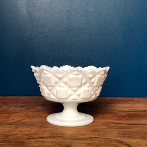 Westmoreland Checkerboard Milk Glass Footed Bowl
