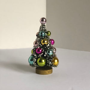 Flocked Tree with Colorful Orbs