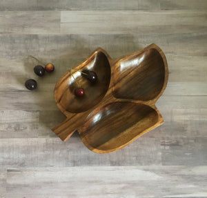 vintage genuine monkey pod wood dish