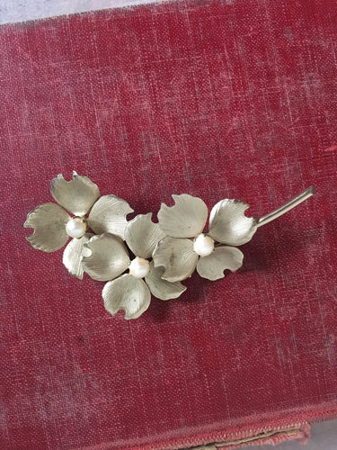 Vintage Cultured Pearl Apple Blossom Brooch