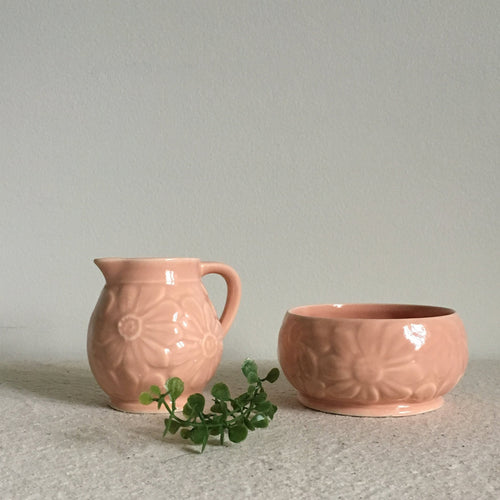 Small Vintage Blush Pink Creamer Pitcher Set