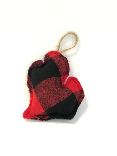 Red & Black Buffalo Plaid Lower Peninsula Ornament