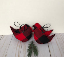 red black buffalo check bird ornaments