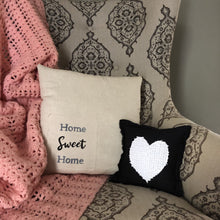 black white heart pillow