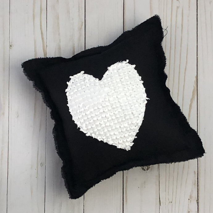 Black & White 8x8 Heart Pillow