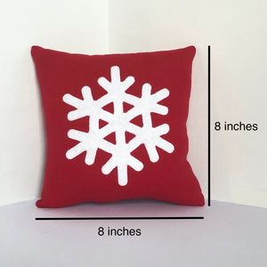 Red 8x8 Snowflake Pillow