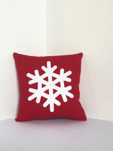 Green 8x8 Snowflake Pillow