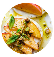 Peach Caprese with Chopped Pistachios