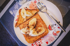 Stuffed French Toast with Banana Bread Caramel Sauce