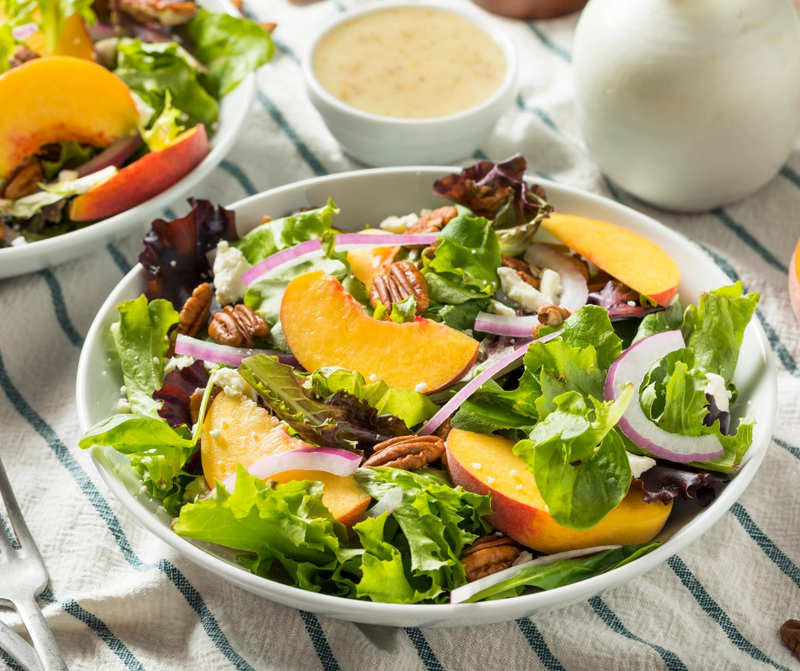 Summer Salad with Peach, Feta and Pecans