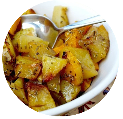 Slow Roasted Butternut Squash and Potatoes with Rosemary Olive Oil and Meyer Lemon Balsamic Vinegar