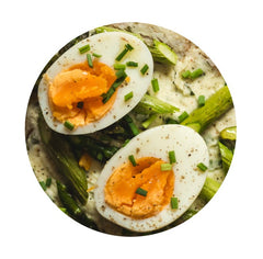 Hard Boiled Eggs with Olive Oil and Pickled Shallots