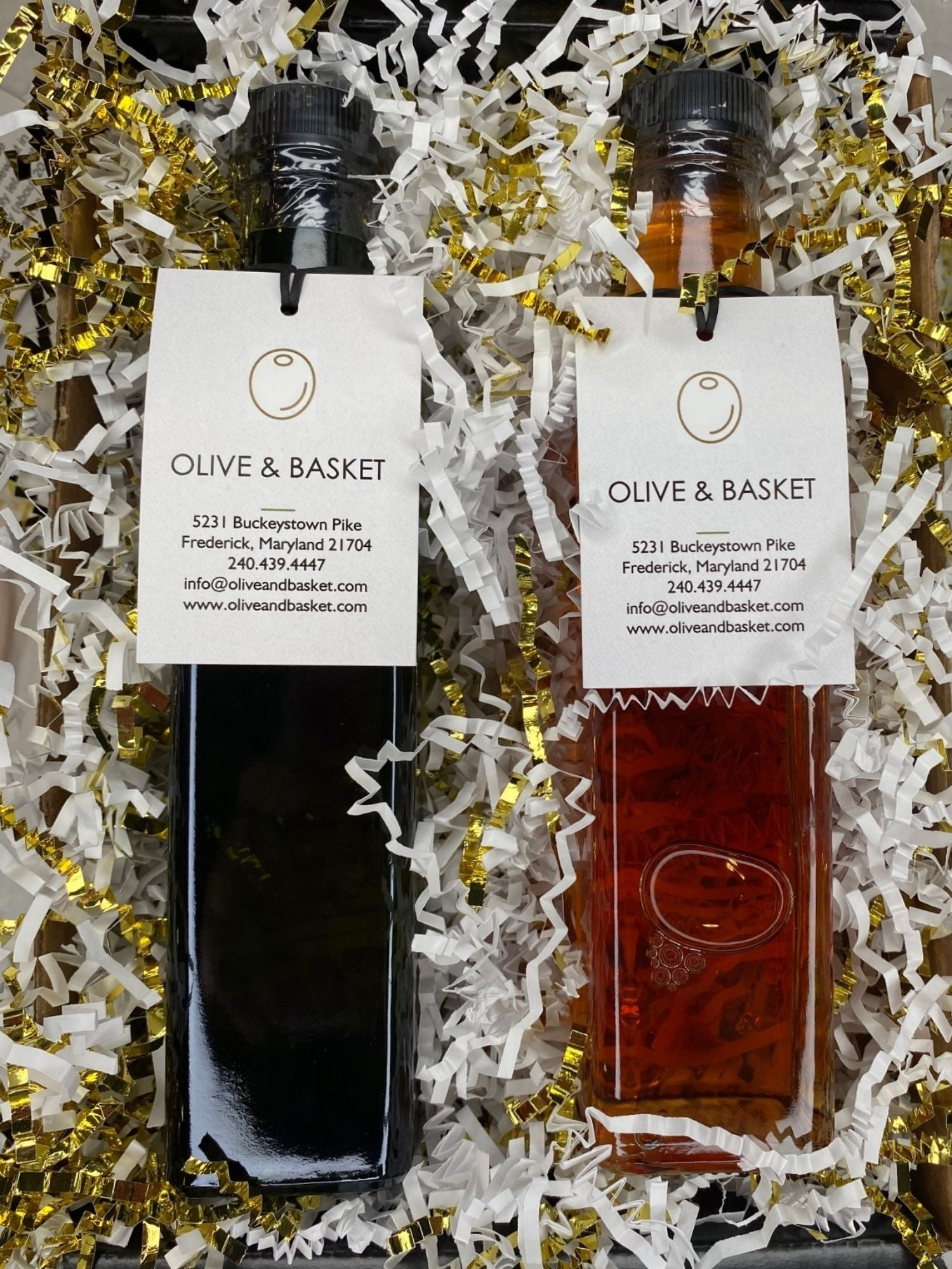 Oil & Vinegar Gift Set- Basil EVOO & Peach White Balsamic Vinegar