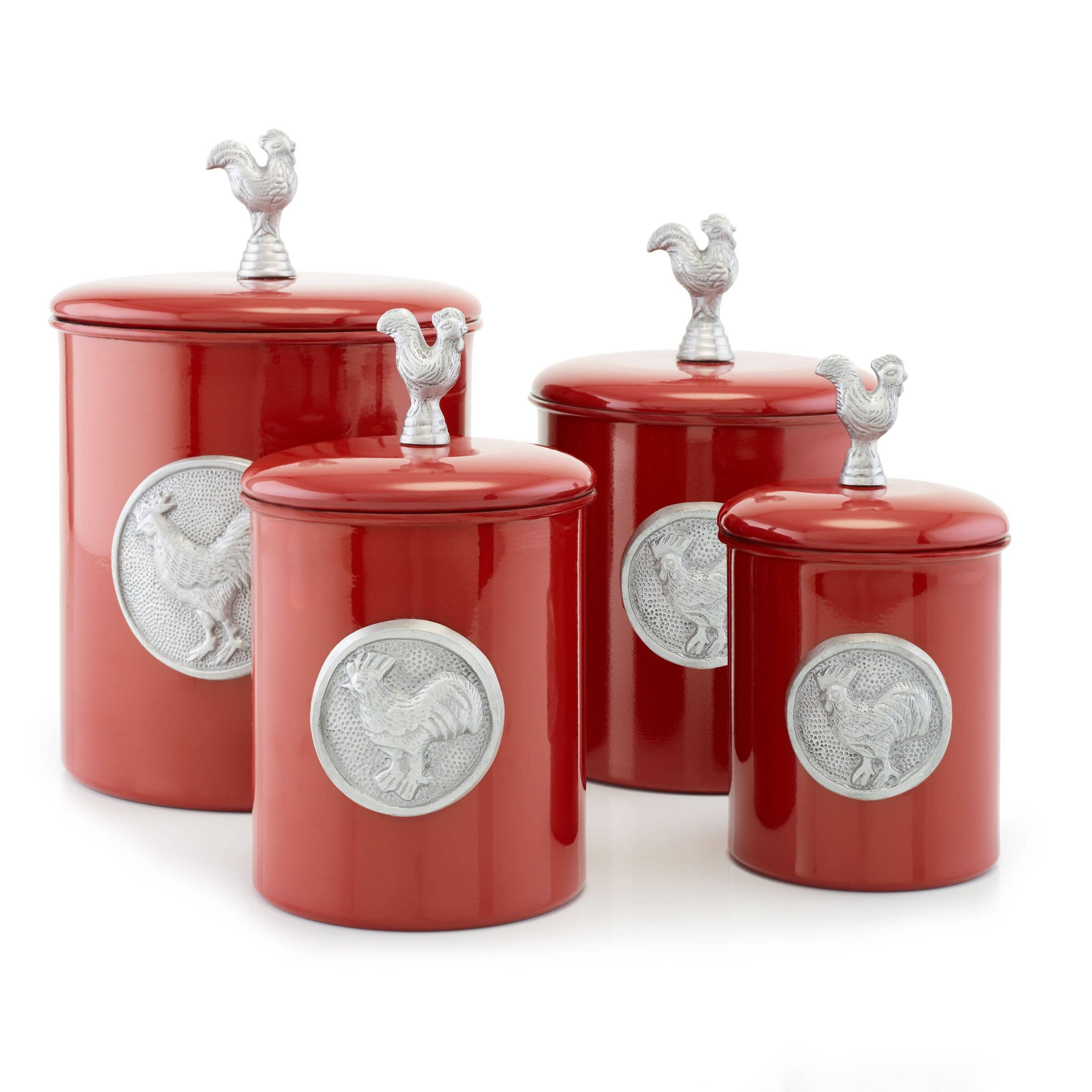 Red Rooster Canister Set with Rooster Medallion and Knob-Old Dutch International