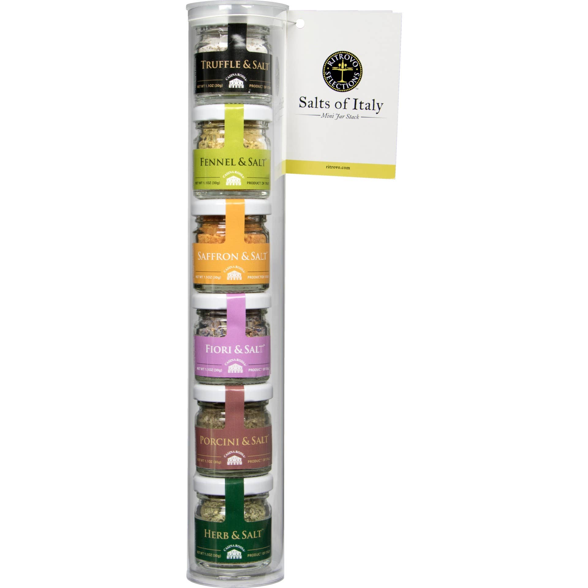 Salts of Italy, Italitan Salt Stacks - 6 Mini Salt Jars in Gift Pack
