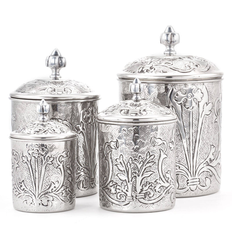 Art Nouveau Stainless Steel Canister Set-Old Dutch International