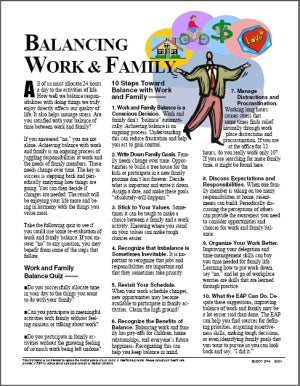 E001 Balancing Work and Family - HandoutsPlus.com