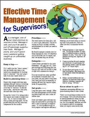 E052 Effective Time Management for Supervisors - HandoutsPlus.com
