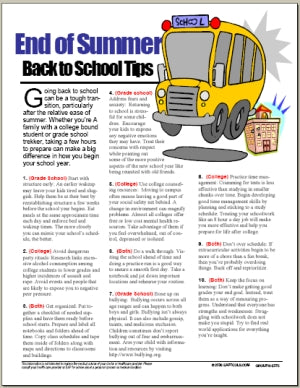 E075 End of Summer: Back to School Tips - HandoutsPlus.com