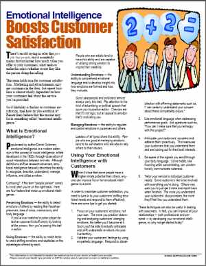 E093 Emotional Intelligence Boosts Customer Satisfaction - HandoutsPlus.com