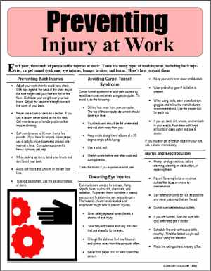 E098 Preventing Injury at Work - HandoutsPlus.com