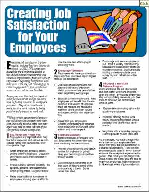 E099 Creating Job Satisfaction for Employees (supervisor) - HandoutsPlus.com