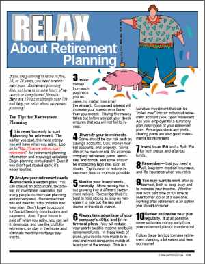 E100 Relax about Retirement Planning - HandoutsPlus.com