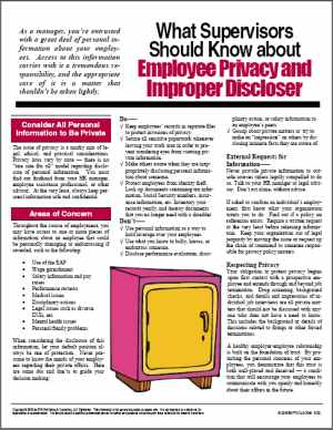 E102 What Supervisors Need to Know about Employee Privacy and Improper Disclosure - HandoutsPlus.com