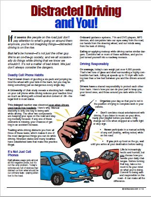 E110 - Distracted Driving and You - HandoutsPlus.com