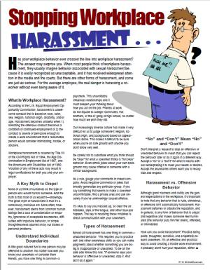 E125 Stopping Workplace Harassment - HandoutsPlus.com