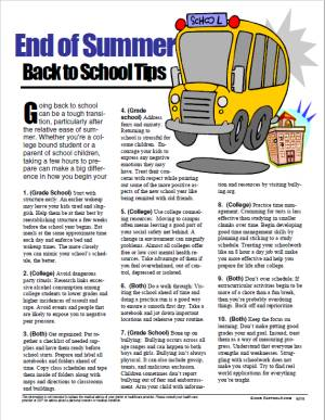 E147 End of Summer Back to School Tips - HandoutsPlus.com