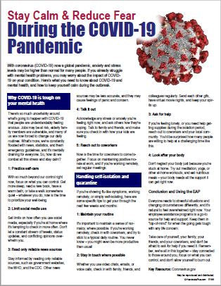 E166 Stay Calm and Reduce Fear During the COVID-19 Pandemic - HandoutsPlus.com