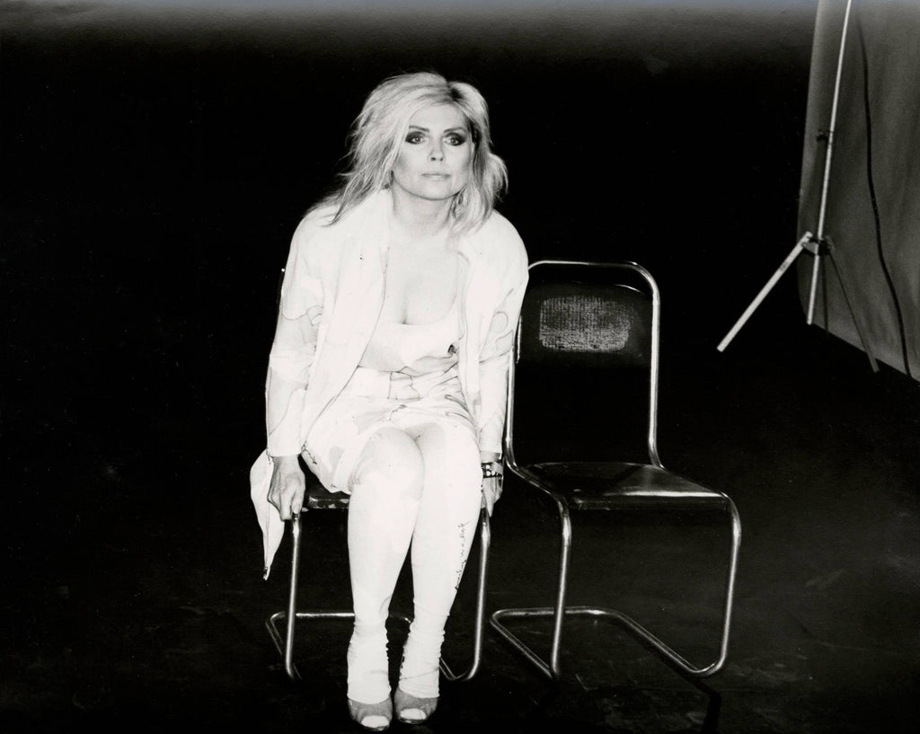 Andy Warhol, Debbie Harry (Blondie) seated close up, 1985