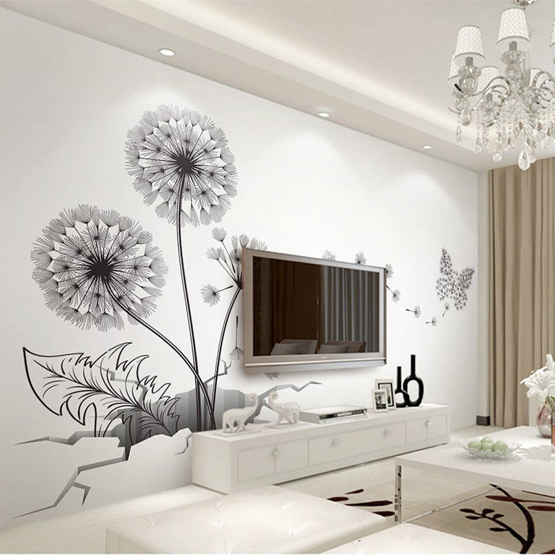 Broken Wall Dandelion Floral Wall Decor (3D and waterproof) Home Decor Ideas