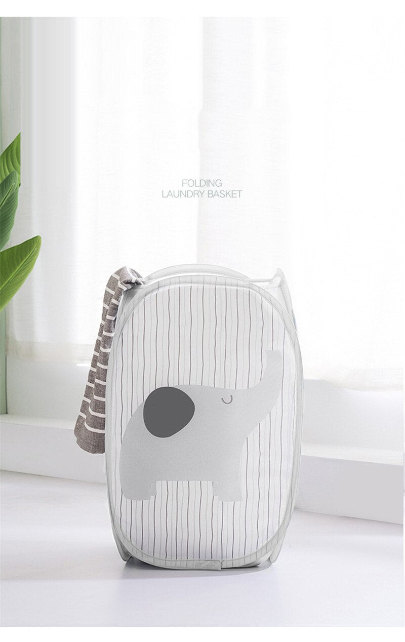 Elephant (animated) Fold-able Clothes Storage Mesh Laundry Basket
