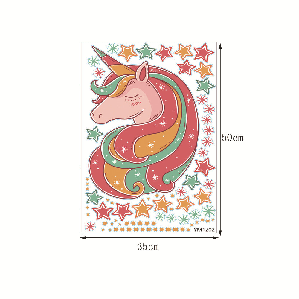 Fantasy Rainbow Unicorn Stars Wall Sticker