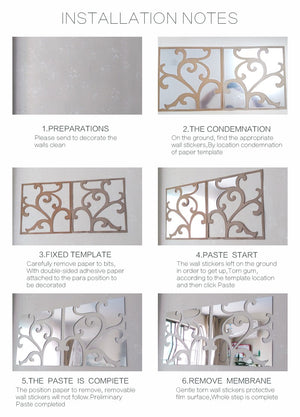 Square Scalloped Mirror DIY Wall Stickers