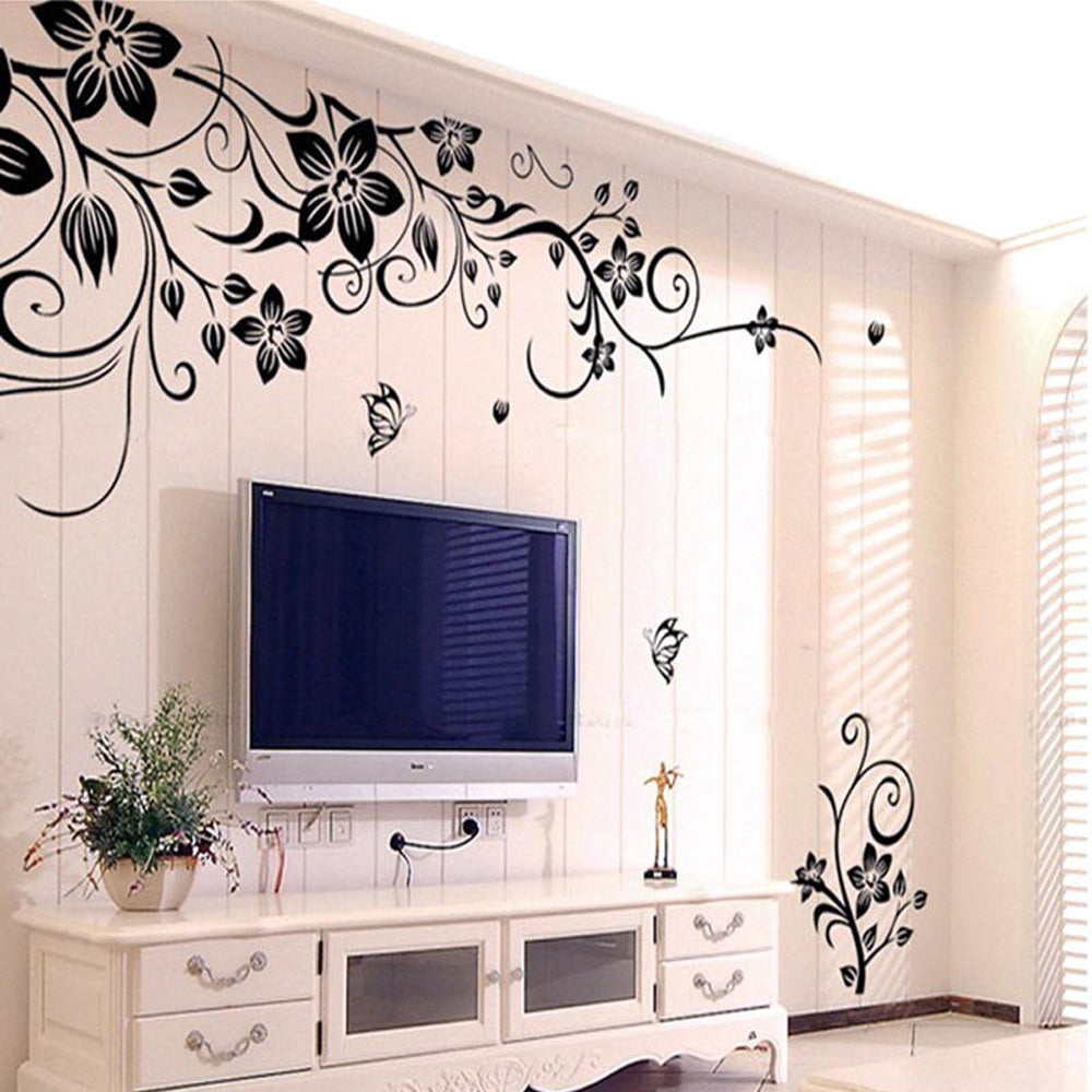 Black Floral Vine Wall Decal