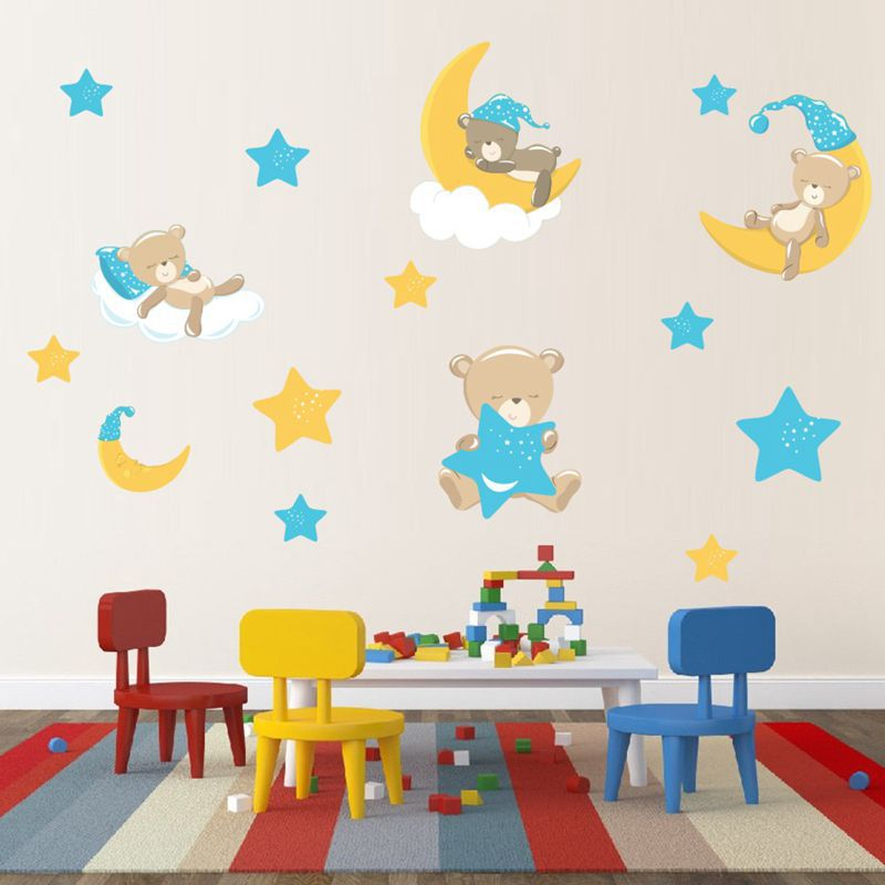 Adorable Bear Moon Stars Wall Decals Kids Room Decor